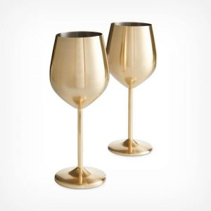 brushed gold wine glasses