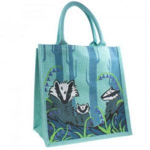 Jute Shopping Bag - Badgers & Bluebells