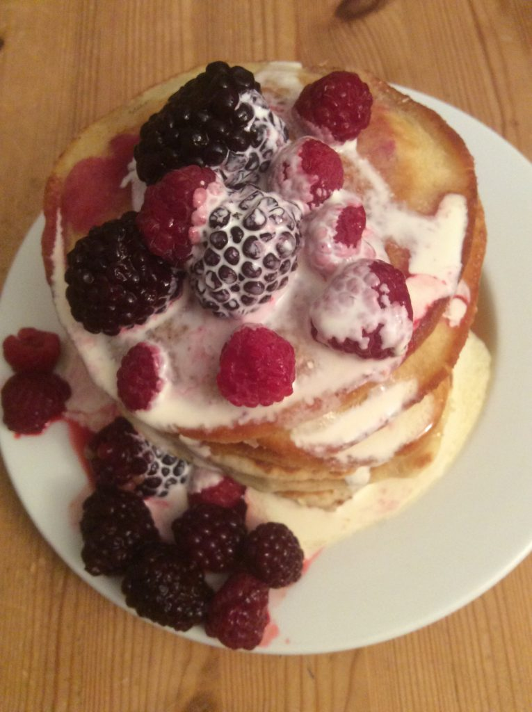 Blackberry & Raspberry Pancakes on a plate