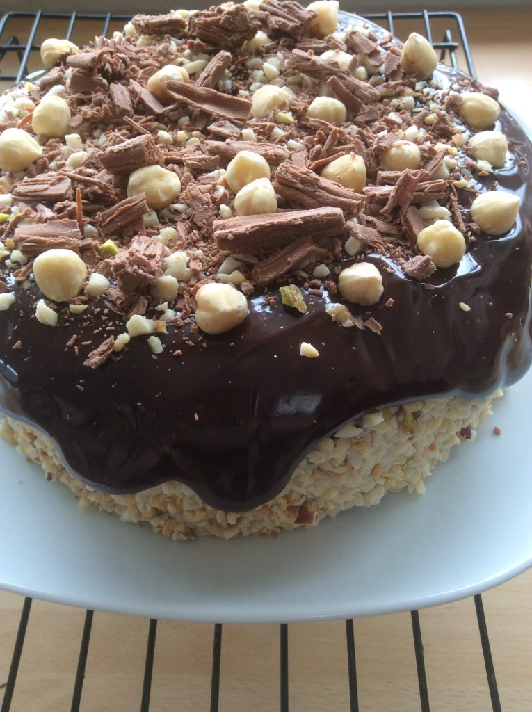 chocolate and hazelnut ganache gateau