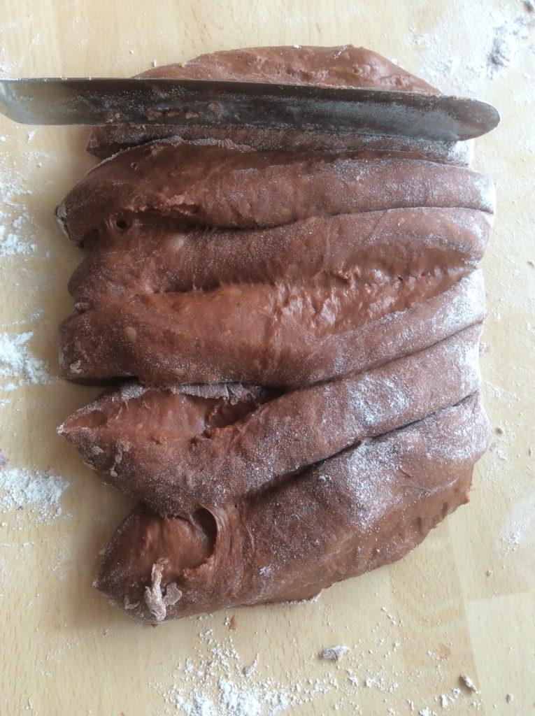 cut chocolate dough