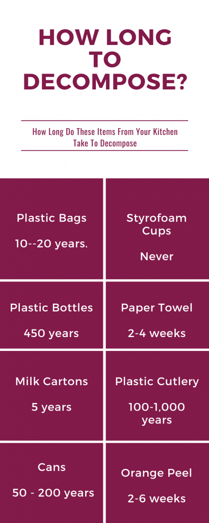 how long it takes items from your kitchen to decompose - environmentally friendly